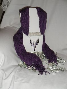 Purple Scarf with a Touch of Beads and Gemstones by pdqt12 on Etsy, $20.00