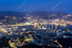Nagasaki city at night in Japan - Stock Photo , #AD, #night, #city, #Nagasaki, #Photo #AD Kyushu, Nagasaki, Japan Photo, Vector Hand, Night City, Birds In Flight, Dusk, Twilight, Hand Drawn