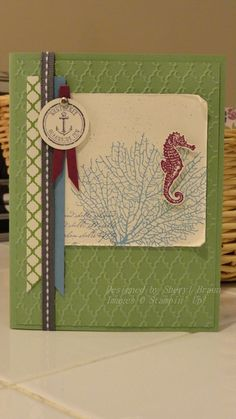 Stampin Up By the Tide card - Spring Catalog, Print Poetry DSP, Fancy Fan embossing folder, masculine, all occasion notecard - Basic Gray, Wasabi, Marina Mist, Razzleberry, Vanilla