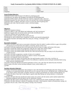 Behavior Intervention Plan Template   Free Word Pdf Documents