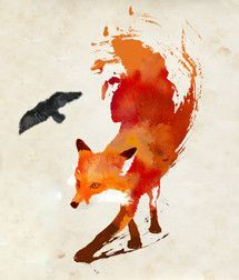 I Really Want this Fox and Crow Tattoo