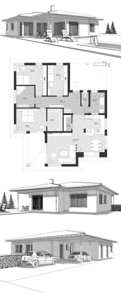 Landhaus Winkelbungalow modern house with flat roof architecture & floor plan single story, barrier-free with 140 sqm living space – single-family house build ideas ELK Bungalow 140 by ELK Fertighaus – HausbauDirekt. Hip Roof, Flat Roof, Architectural House Plans, Prefabricated Houses, Roof Architecture, House Roof, House Floor Plans, Ground Floor, Building A House
