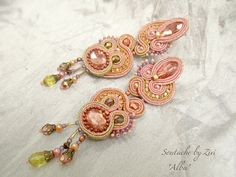 Statement Long Stud Sparkly Soutache Earring, Peach Blush Pink Gold Copper Earring,  Blush Pink Rose Soutache Earring 0