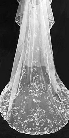 Elegant Antique Brussels Princess Lace Long Wedding Bridal Veil. $1,995.00, via Etsy.
