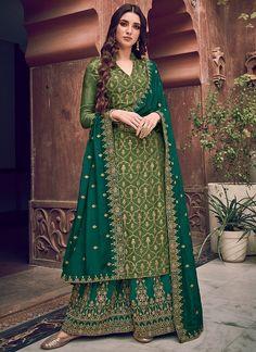 Palazzo Dress, Palazzo Suit, Palazzo Style, Green Silk, Green Fabric, Teal Green, Olive Green, Pantalon Cigarette, Costume