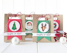 Mini gift Bags by Debby Hughes using some Simon Says Stamp Goodies a long with the Lawn Fawn Treat Bag Die.