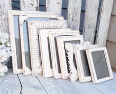 Antique White Picture Frames - Set of 10 Painted Shabby Chic Picture Frames, Vintage Antique White Color
