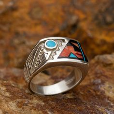Men's Blue Moon Rising David Rosales Red Canyon Inlaid Sterling Silver Ring