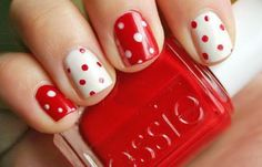 Polka Nail Art Red White