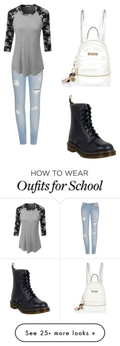 """""""School"""" by savannarhall on Polyvore featuring LE3NO, Dr. Martens and River Island"""