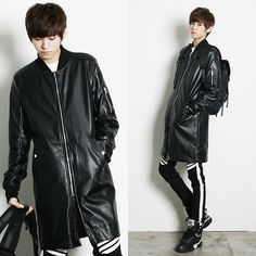 Remember Click Long Black Leatherette Zip Jacket BLACK S M Korean Wear #RememberClick #BasicJacket
