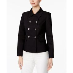 Calvin Klein Double-Breasted Blazer ($63) ❤ liked on Polyvore featuring outerwear, jackets, blazers, navy, double breasted jacket, shiny blazer, calvin klein blazer, shiny jacket and calvin klein