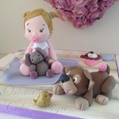 Christening for Martina - Cake by Orietta Basso Fondant Icing, Fondant Toppers, Fondant Cakes, Cupcake Cakes, Cake Cookies, Cupcakes, Beautiful Cakes, Amazing Cakes, Dog Cakes