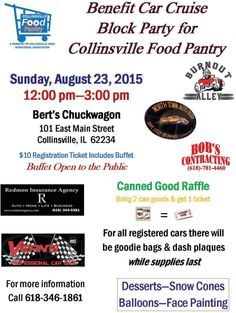 Benefit Car Cruise Block Party, Aug 23, Noon-3p. Bert's Chuckwagon, 101 E Main St, Collinsville