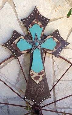 Wood Cross Extra Large Turquoise, Brown and Creme Wood Cross