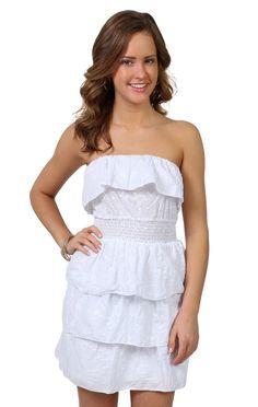 Strapless tiered white summer dress(: