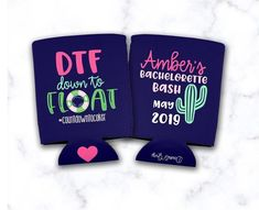 DTF Down To Float Cactus/Fiesta Bachelorette/Girls Trip/Vacation/River Beverage Insulator/Hugger Bachelorette Party Shirts, Bachelorette Weekend, Float Trip Ideas, Wedding Humor, Cookie Images, Coolers, Custom Items, Beverage, Wig