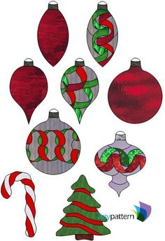 Christmas Ornament Ribbon Collection Stained Glass Pattern