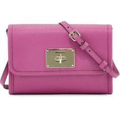 Cole Haan Daphne Saffiano Leather Crossbody Bag (405 SAR) ❤ liked on Polyvore featuring bags, handbags, shoulder bags, azalea, purple purse, cole haan handbags, crossbody flap handbags, crossbody flap purse and purple handbags