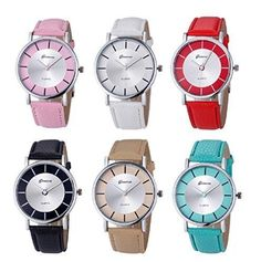 Geneva Fashion Women Watches Leather Quartz Jelly Dress Wristwatch 6 Pcs Fiiliip(Mixed Color)