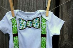 Swanky Baby Boy Onesie Bow Tie and Suspenders The by SwankyShank, $16.00, so want to get this for johnny