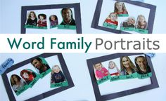 Word Family Game.Gather your materials. You will need some magazines or family photos you can cut up, construction paper, double stick tape , painter's tape, scissors and a marker.