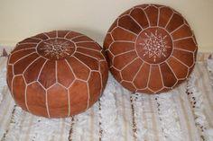 Set of 2 Moroccan Leather poufs,ottoman luxury floor poufs,home decor,footstool