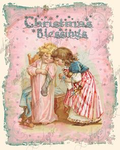 Christmas Card Printable Shabby Chic Children PINK by Vintagize