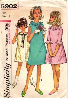 1960s Simplicity 5902 Vintage Sewing Pattern Girls A-line Dress, One Piece Dress, Party Dress Size 14 by midvalecottage on Etsy