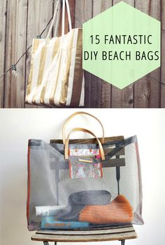 15 rad DIY beach bags perfect for your summer outings. Tote Purse, Tote Bags, Beach Bags, Beach Ready, Summer Fun, Summer Time, Diy Accessories, Sewing Projects, Craft Projects