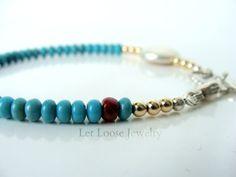 Turquoise bracelet asymmetrical genuine by LetLooseJewelry on Etsy