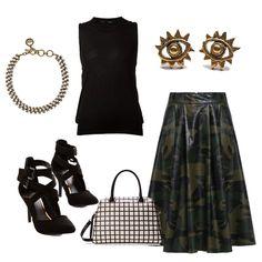 Camouflage Print PU Midi Skirt