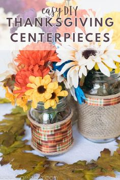 Thanksgiving Centerpieces for Every Budget - Easy Crafts 101 Printable Invitations, Party Printables, Easy Diy Projects, Easy Crafts, Diy Thanksgiving Centerpieces, Mason Jar Vases, Thanksgiving Crafts For Kids, Party Planning, Budget