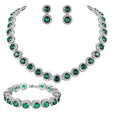 EVER FAITH SilverTone Round Cut Cubic Zirconia Tennis Necklace Bracelet Earrings Set Green Emerald Color ** See this great product.