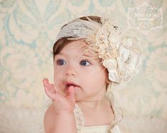 Ivory and Lace Flower Headband-Shabby Chic headband  -Baby headband- Newborn headband- Infant headband- Toddler headband-Flower girl