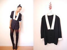 Vtg 80's Avant Garde DEEP V Tuxedo Mini DRESS  http://www.etsy.com/shop/LuluTresors