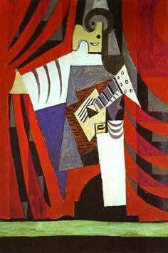 Pablo Picasso >> Polichinela con la guitarra antes de la cortina de la etapa     (oleo, obra de arte, reproducción, copia, pintura).