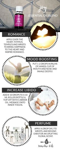 BENEFITS AND USES FOR JOY ESSENTIAL OIL BLEND #joy #romance #moodboosting #libido #perfume #yleo #essentialoils