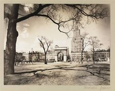 Washington Square Park, the view to the North, April 1936 ~ Photograph by Berenice Abbott via The New York Public Library New York Architecture, Architecture Images, Manhattan Park, Lower Manhattan, 1920s, New York Sites, New York Tours, Berenice Abbott, Washington Square Park