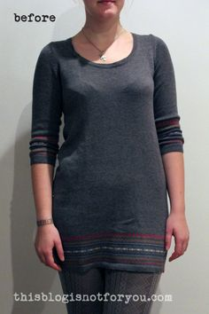 sweater dress refashion use  boarder for a infinity scarf instead.