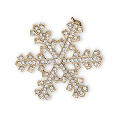Gold Tone Crystal Snowflake Fashion Pin