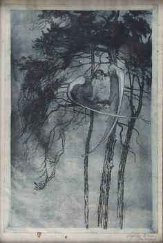 'Nightbird' by Wilhelm Lefèbre, 1908 Metal Engraving, Caravaggio, Fairy Land, Fairy Tales, Occult, Faeries, Printmaking, Art Reference, Art Photography