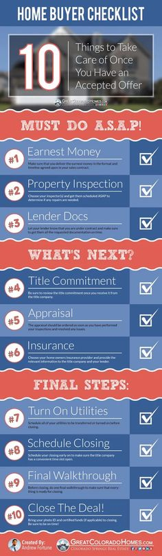 Home Buyer Checklist: What Happens once the Seller Accepts Your Offer? http://bit.ly/17Kb0JD  When you buy a house, it takes time, energy and focus to g... - Andrew Fortune - Google+
