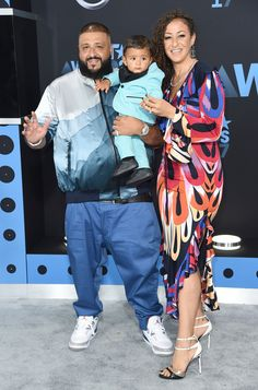 DJ Khaled, a nominee for the best collaboration award; his son, Asahd, wearing Gucci; and Nicole Tuck.  -    Richard Shotwell/Invision/AP.