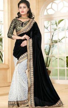 Dazzling white velvet with net designer saree