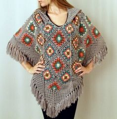 Boho little granny squares poncho w hood, front view