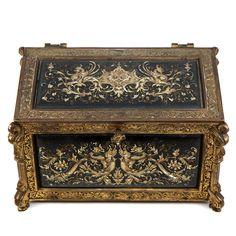 Изысканные Античная Ренессанс Шкатулка, коробка, эмалированные панели, тяжелый бронзовый антиквариат из-необычном-сокровище на Руби-Лейн