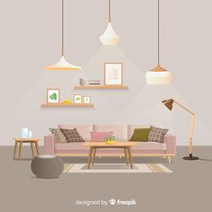 Modern home interior decoration with flat design Free Vector Interior Design Vector, Interior Design Sketches, Design Plat, Flat Design, Wood Painting Art, Bohemian Style Bedrooms, Blue Pictures, Flat Illustration, Living Room Bedroom