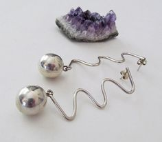 Mod Sterling Silver Earrings, Vintage Modernist Jewelry, Hipster Earrings, Shoulder Duster Earrings, Post Earrings, Long Dangle Earrings