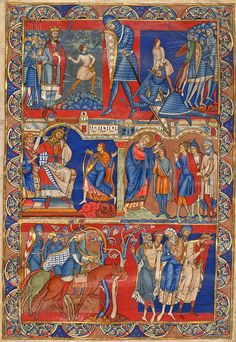Scenes from the Life of David, leaf from the Winchester Bible (Romanesque period) 1160-75, miniature, Cathedral, Winchester